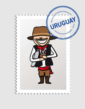 Uruguayan Man cartoon with uruguay postal stamp.  Vector