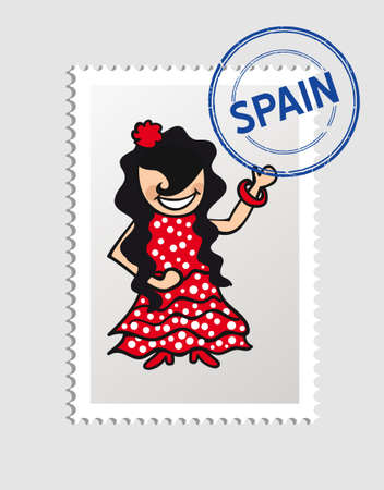 Spanish woman cartoon with spain postal stamp.  Vector
