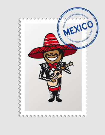Mexican man cartoon with mexico postal stamp.  Vector