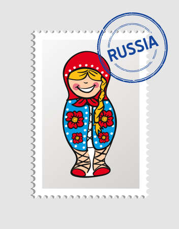 Russian Woman doll cartoon Russia postal stamp.  Vector