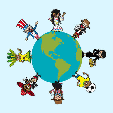 Planet earth, diversity cartoon people, american continent.