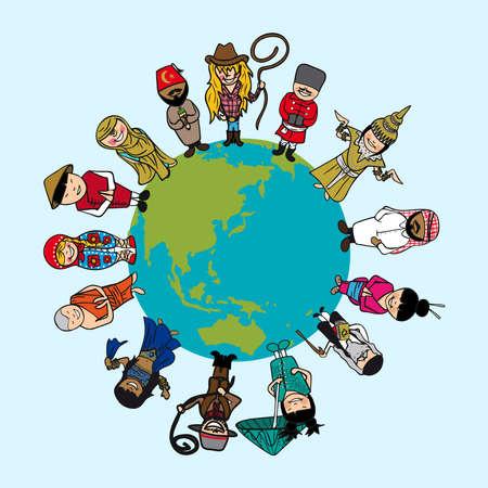 세계지도, 독특한 의상과 다양한 사람들의 만화.