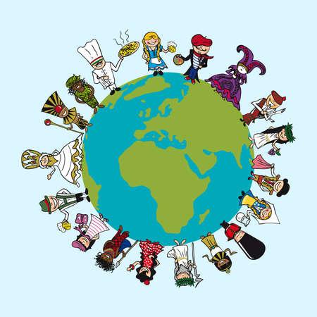 multicultureel: Wereldkaart, mensen diversiteit cartoons met opvallende outfit concept illustratie.