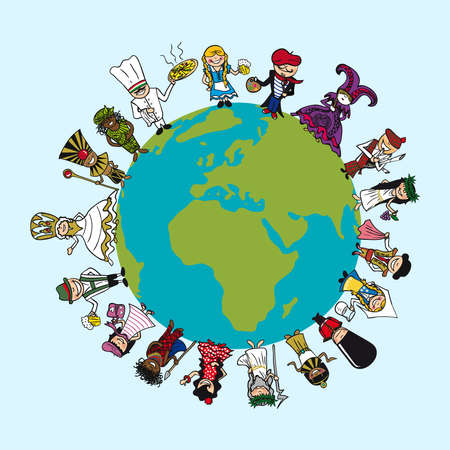 multi cultural: World map, diversity people cartoons with distinctive outfit concept illustration.