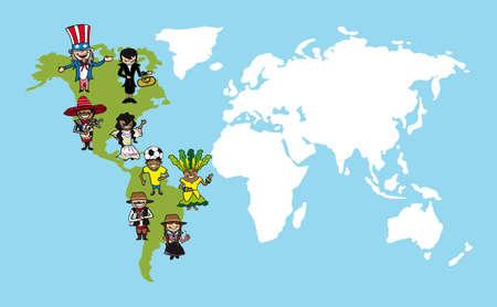 다양성의 사람들이 개념을 세계지도, 미국 대륙에 걸쳐 그룹 만화.