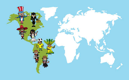 Diversity people concept world map, group cartoon over american continent.  Çizim