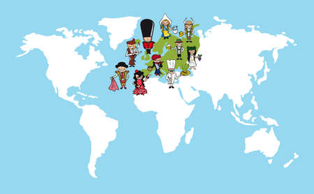 Diversiteitsconcept wereldkaart, groep mensen cartoon over europese continent.