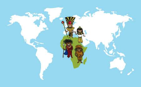 Diversiteit mensen begrip wereldkaart, team cartoon over Afrikaanse continent.