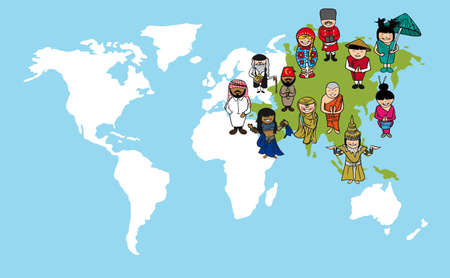 다양성 개념 세계지도, 아시아 대륙에 걸쳐 만화 사람들. 일러스트