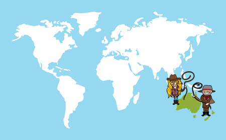Diversity people concept world map, couple cartoon over oceania continent.