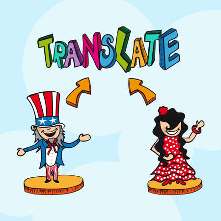 translate: Translate concept american man and spanish woman cartoon illustration.