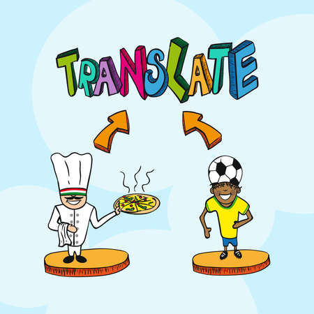 Translate concept italian man and brazilian man cartoon illustration.