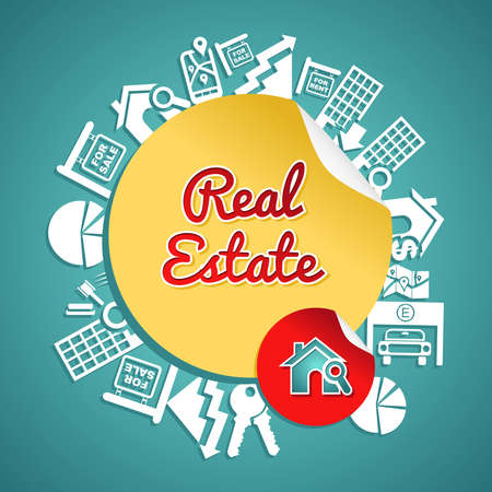 Real estate text, circle, house and lens icons, rental concept illustration.   Vector