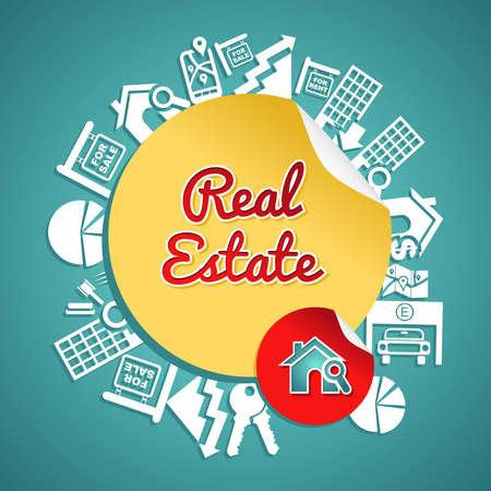 Texto, círculo, casa y la lente iconos de bienes raíces, alquiler de concepto de ilustración. Foto de archivo - 21280264
