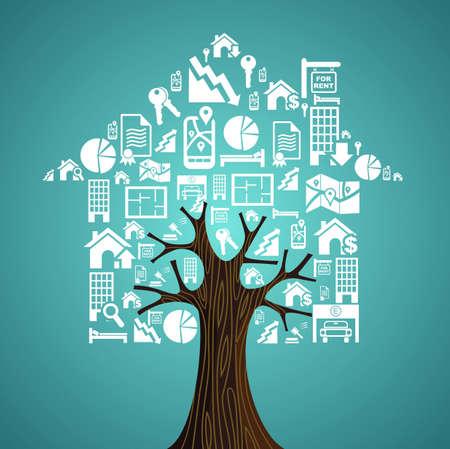 Inmuebles símbolos casa en el árbol, Alquiler concepto de ilustración.