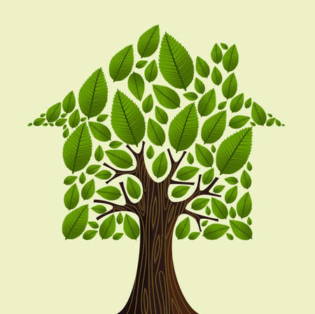 house market: Real estate tree house green leaves illustration.