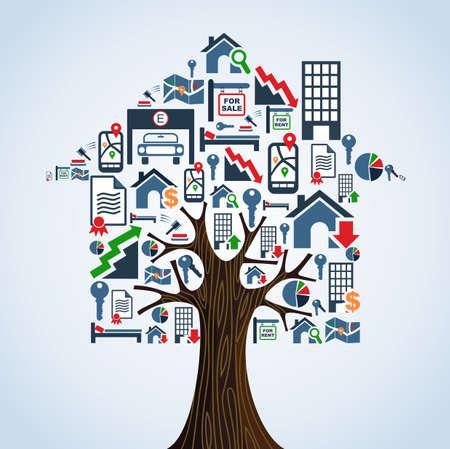 Inmuebles símbolos tree house Alquiler concepto de ilustración.