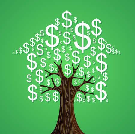 zakelijk: Onroerend goed boomhut geldsymbolen verhuur concept illustratie.