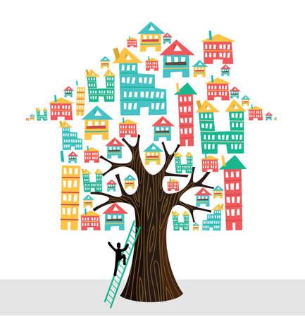 Real estate tree house symbols human man on ladder rental concept illustration.