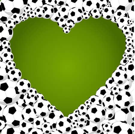 soccer balls, heart shape, world tournament concept illustration. Vector