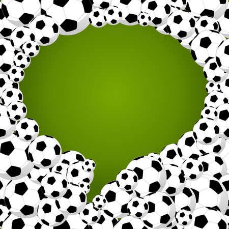 soccer balls:  social media speech bubble shape of soccer balls, world tournament concept illustration.  Illustration