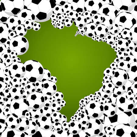 country map shape of soccer balls world tournament concept illustration. Ilustração