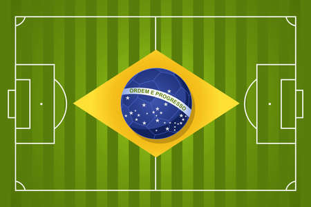 Brazil 2014 year football court soccer ball flag shape, world tournament concept illustration.   Vector