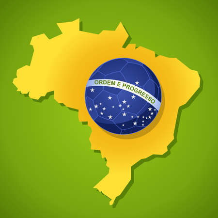 2014 brazil country map soccer ball flag world tournament concept illustration. Vector