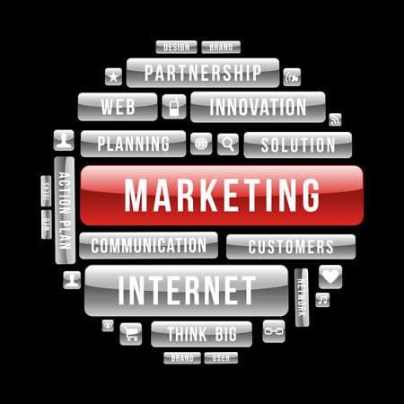 インターネット ビジネス マーケティングのサークルの光沢のあるウェブのボタン。