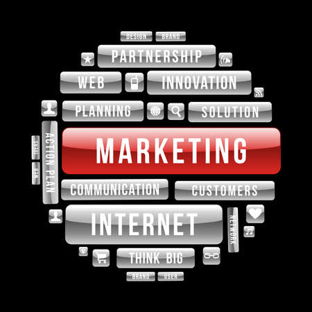 price development: Internet business marketing circle glossy web buttons.