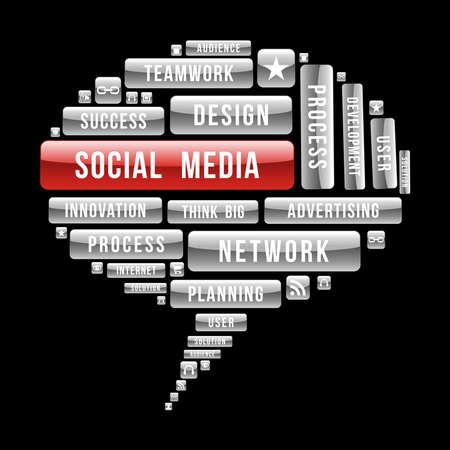 ソーシャル メディアのバブルは、光沢のあるウェブのボタンと seo の概念。