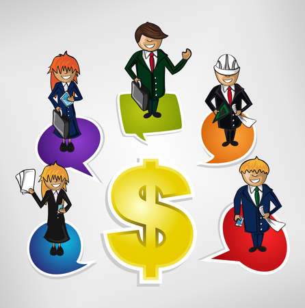 easy money: Work Group Business success people money sign illustration. Vector file layered for easy personalization.  Illustration