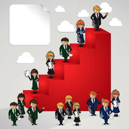 Liderazgo empresarial pasos para el éxito objetivos archivo Vector dibujos animados de personas escalera de capas para la manipulación fácil y colorante de encargo Foto de archivo - 21599727