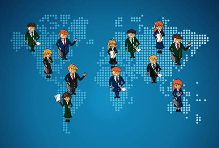 sectors: Global map business teamwork happy faces cartoon illustration. layered for easy personalization.