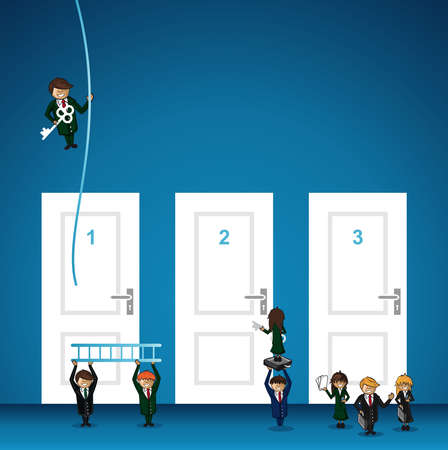 leadership key: Business success, choice door leadership key cartoon people. layered for easy personalization. Illustration
