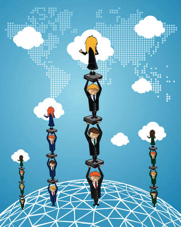 Global Business people work group success using cloud computing cartoon illustration. layered for easy manipulation and custom coloring.  Vector