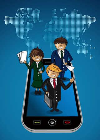 teamwork cartoon: Smart phone global map business application people teamwork cartoon people. layered for easy personalization.