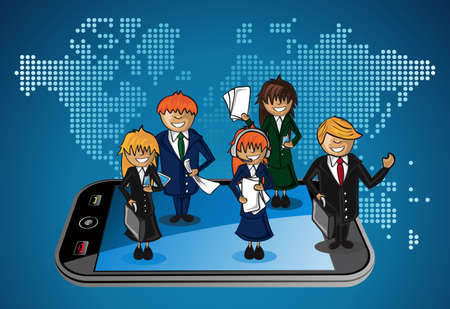 sectors: Smart phone world map business application people teamwork cartoon. layered for easy personalization. Illustration