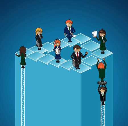 Business teamwork success people concept illustration. layered for easy personalization.  Vector