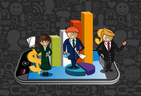 international organization: Smart phone business success teamwork illustration. layered for easy manipulation and custom coloring.