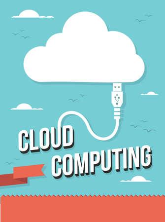 expanding: USB cable icono cloud computing ilustraci�n del texto. en capas para la manipulaci�n f�cil y colorante de encargo.
