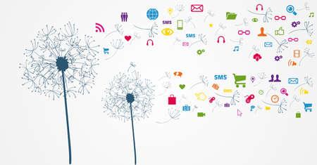 interaccion social: Flor diente de le�n volando medios ic�nico archivo Vector sociales en capas para la manipulaci�n f�cil y colorante de encargo