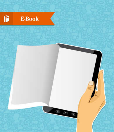 Human hand holds a digital book illustration  Vector file layered for easy manipulation and custom coloring  Stock Vector - 21599761
