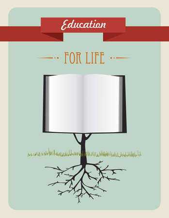 Vintage education open book tree illustration. layered for easy manipulation and custom coloring. Vector