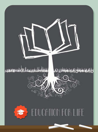 Education concept tree chalkboard illustration. layered for easy manipulation and custom coloring. Vector