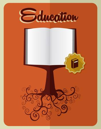 Retro education concept  book tree over orange background. layered for easy manipulation and custom coloring. Vector