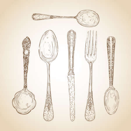 vintage dishware: Retro transparent silverware icons sketch style illustration.  layered for easy editing. Illustration