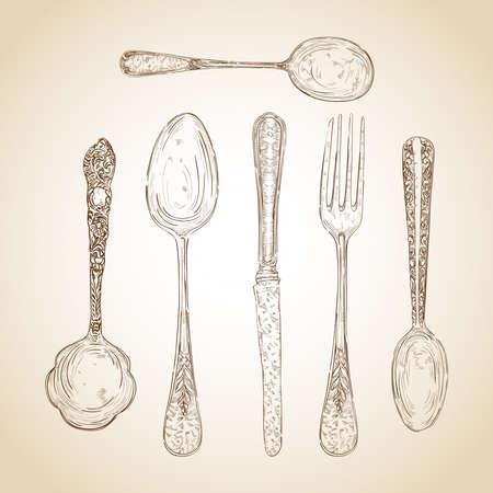 cubiertos de plata: Transparente plata iconos boceto ilustración de estilo retro. en capas para facilitar la edición.
