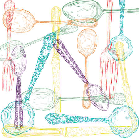 Vintage colorful transparent silverware items hand drawn illustration. layered for easy manipulation and custom coloring.