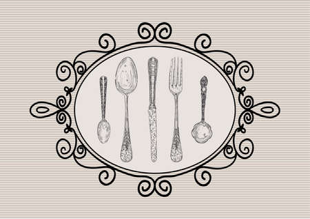 Vintage hand drawn silverware icons old frame illustration.  layered for easy manipulation and custom coloring. Vector